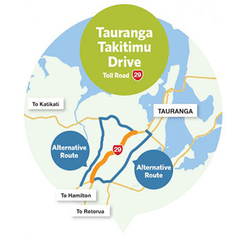 Takitimu Drive Mautstrasse in Neuseeland